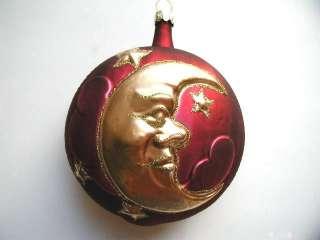 MOON STARS GERMAN BLOWN GLASS CHRISTMAS ORNAMENT GOLD
