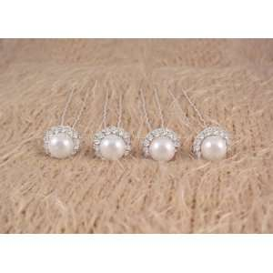 Wedding Prom White Pearl Rhinestone Hair Pins 4pcs