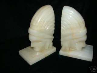 PAIR OF VINTAGE HAND CARVED SCULPTURE MARBLE AZTEC BOOK ENDS ~ NICE