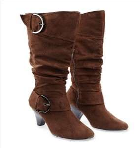 , brown, red faux suede slouch high heel round toe boots w/ buckles