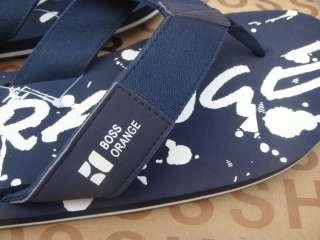 NEW HUGO BOSS BLUE WHITE T SHIRT SHOES SUIT FLIP FLOPS