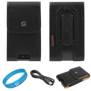 Black Vertical Premium Leather Holster Carrying Case with