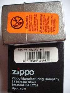 TF RACING ZIPPO CAR #47 ZIPPO LIGHTER SEALED GIFT BOX