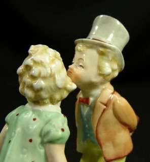 OLD GERMAN PORCELAIN CERAMIC FIGURINE KISSING BOY GIRL