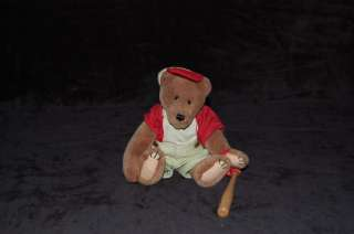 Boyds Bear Homer Baseball Bat Plush Red Uniform Bear