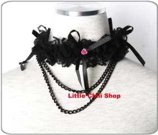 GLP Kera Gothic Punk Rose Cutie Flower NECKLACE Black