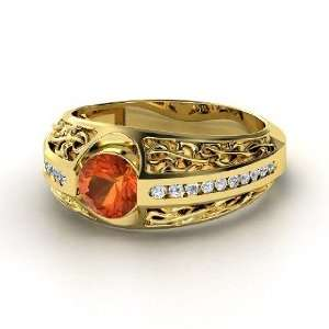 Vintage Romance Ring, Round Fire Opal 14K Yellow Gold Ring