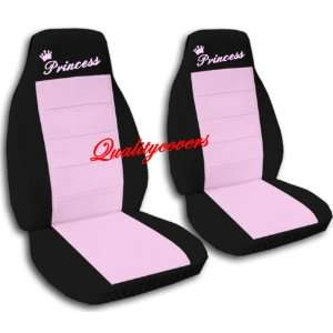 2 Black and sweet pink Princess car seat covers, for a