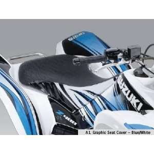 Suzuki Quadsport Z400 Graphic Seat Cover Blue White