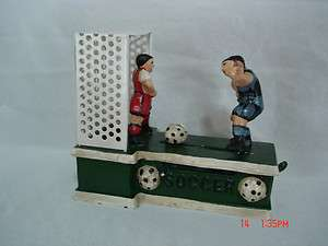 Vintage Cast Iron Mechanical Coin Bank Soccer Brand New Still In The