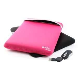 DURAGADGET Black & Pink Reversible 17 Neoprene Laptop Case With USB
