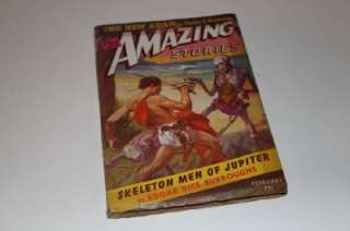 Amazing Stories Magazine Feb 1943 Edgar Rice Burroughs Skeleton Men of