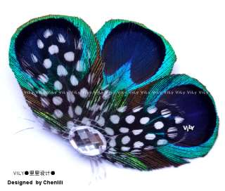 Peacock & Polka Dots Feather Wedding Fascinator Hair Clip Barrette