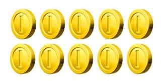 10 (TEN) X COINS   SUPER MARIO Removable Peel & Stick WALL STICKER