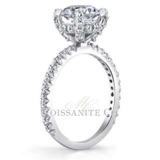 7mm Round Pave Moissanite Engagement Ring 1.70ctw