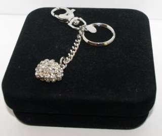 Kirks Folly Austrian Crystals Heart Charm Key Chain CLR