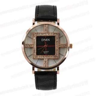 Black Leather Strap Round Womens Quartz Analog DMN Watch with Crystal