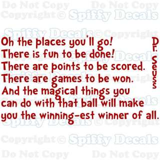 OH PLACES YOU GO FUN Dr Seuss Quote Vinyl Wall Decal Sticker Decor Art