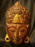 10 Bali Hand Carved Suar Wood Buddha Mask Wall Hanging
