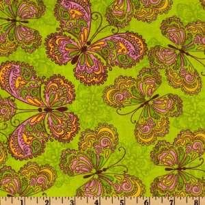 Spring Fling Butterfly Green Fabric By The Yard Arts, Crafts & Sewing