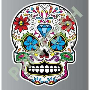 Sugar skull 9 5 sticker vinyl decal 5 x 4