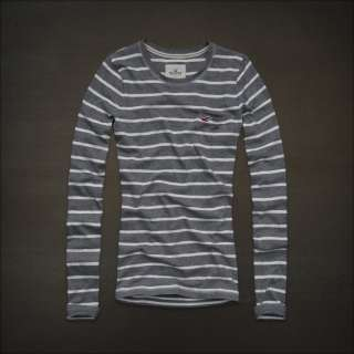 by Abercrombie womens Classic Stripe Logo Shirt Tee T Shirt NWt