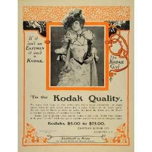 1902 Ad Kodak Eastman Seaman Camera Girl Art Nouveau   Original Print
