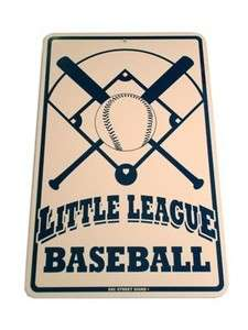 LEAGUE BASEBALL Metal Kids Street Road Sign NEW Childrens Sports Decor