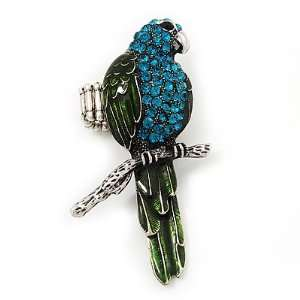 Exotic Turquoise/Green Crystal Parrot Flex Ring In Burn Silver Metal