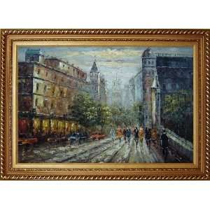 Evening Street Scene Oil Painting, with Exquisite Dark