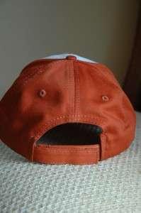 Stihl Hat / Cap White and Burnt Orange Fabric Chainsaw on Bill