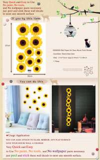 SS 58206 SUNFLOWER WALL ART DECO DECOR MURAL STICKER