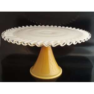 Gold Overlay Silver Crest Glass Pedestal Cake Stand Kitchen & Dining