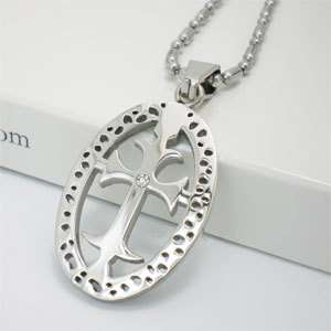 NEW Oval Celtic Cross Stainless Steel Pendant Necklace