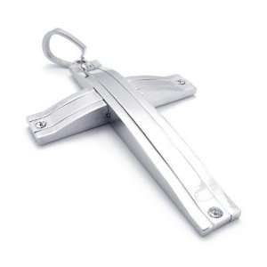 Mens Stainless Steel The Wonder Cross Pendant Necklace