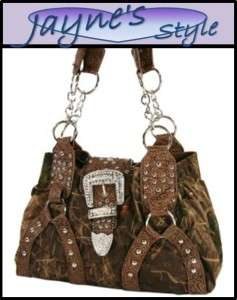 NEW Western BLING RHINESTONE Buckle Purse Mossy Camo Handbag