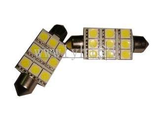 2X 42mm 9SMD 5050 Car LED Dome Light C5W Interior bulb