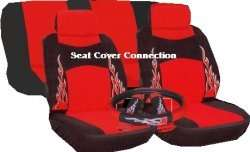 SPORT CAR SEAT COVERS RED BLACK FLAME VELOUR 7 PCE HB