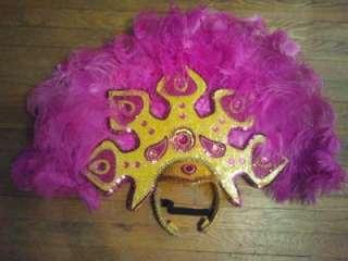 GUC Fuschia and Gold Headdress Samba, Passista, Carnival, Rio