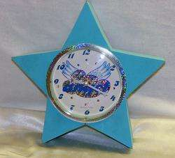 Star Shape Turquoise Angel Sparkle Wall Clock Girls Room Bright Bold
