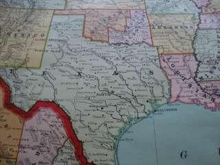 Rare1894 Rand McNally Huge Wall Map United States +
