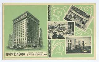 Advertising HOTEL DE SOTO Saint Louis MO 1940 postcard