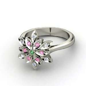 Dahlia Ring, Round Emerald 14K White Gold Ring with Diamond & Pink