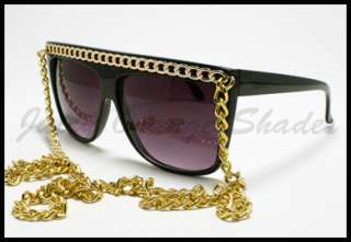 LADY CELEBRITY FLAT TOP GOLD CHAIN Sunglasses BLACK