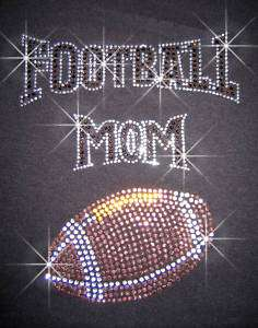 FOOTBALL MOM RHINESTONE IRON ON TRANSFERS HOT FIX BLING