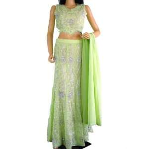 : Green Party Wear Indian Dress Lehenga Lengha Choli L: Toys & Games