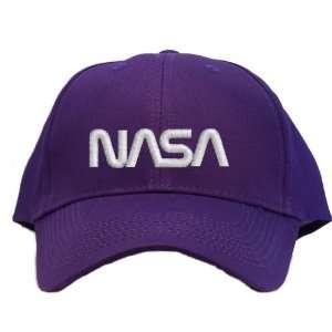 White Worm Logo Embroidered Baseball Cap   Purple