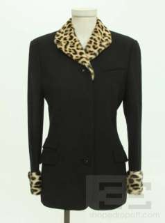 Versace Couture Black Wool & Leopard Pony Hair Jacket Size 38