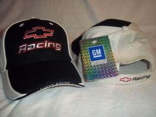 GM Chevrolet Chevy Hat Cap Logo Bowtie Emblem Line Racing White Black