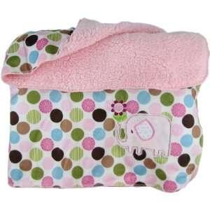 Snugly Baby Polka Dot Sateen & Fleece Baby Blanket w